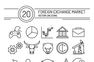 Vector forex line icons set