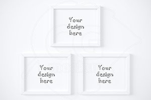 Three simple horizontal frame mockup