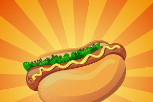 Colorful vector hot dog icon
