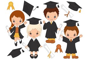 Vector Little Kids Graduating