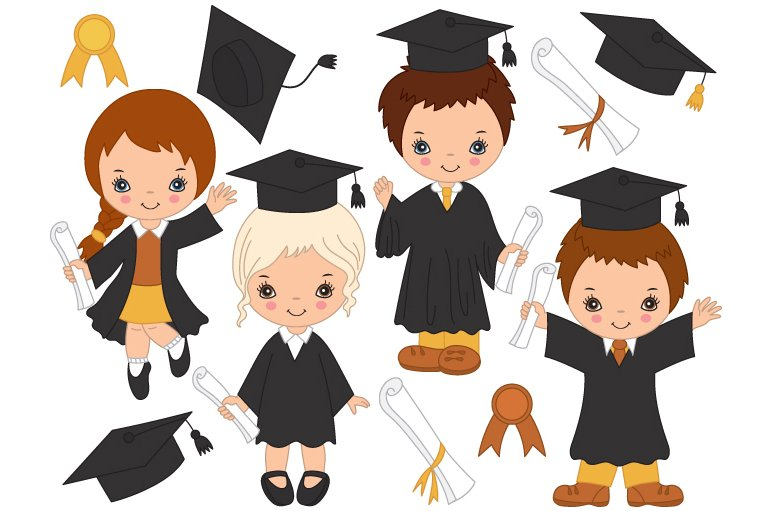 Vector Little Kids Graduating Illustrations Creative Market