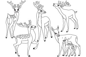 Vector Black and White Forest Deers