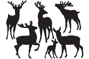 Vector Deers Silhouette