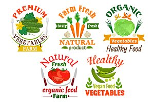 Natural healthy vegetables icons