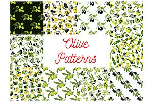 Olive fruits seamless patterns