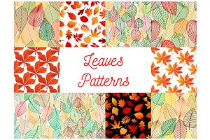 Autumn fallen leaves patterns