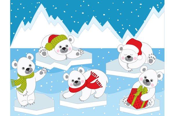 Vector Christmas Polar Bears
