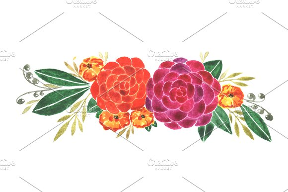 Orange Flowers Clip Art PNG Illustrations Creative Market