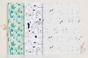 Scandinavian seamless pattern set