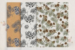 Pine cone seamless pattern set