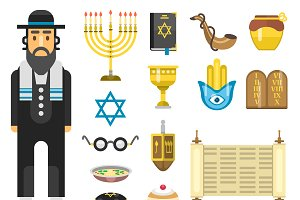 Jewish holidays icons vector set