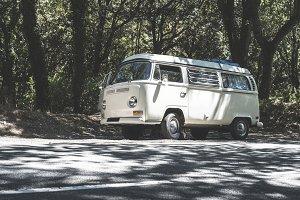Vintage white bus camper