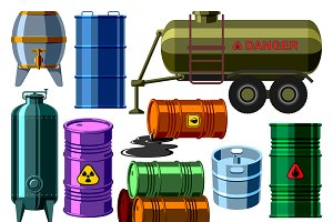 Vector different oil drums container
