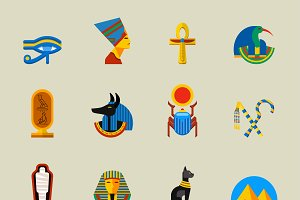 Vector egypt travel icons