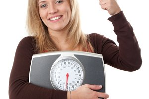 Woman happy with weight