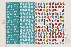 Seamless pattern set with birds