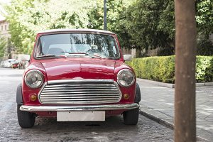 Vintage small red car