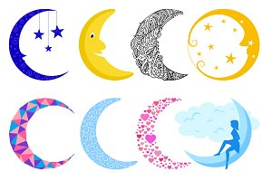 Different moon vector set