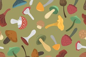 Mushrooms vector pattern