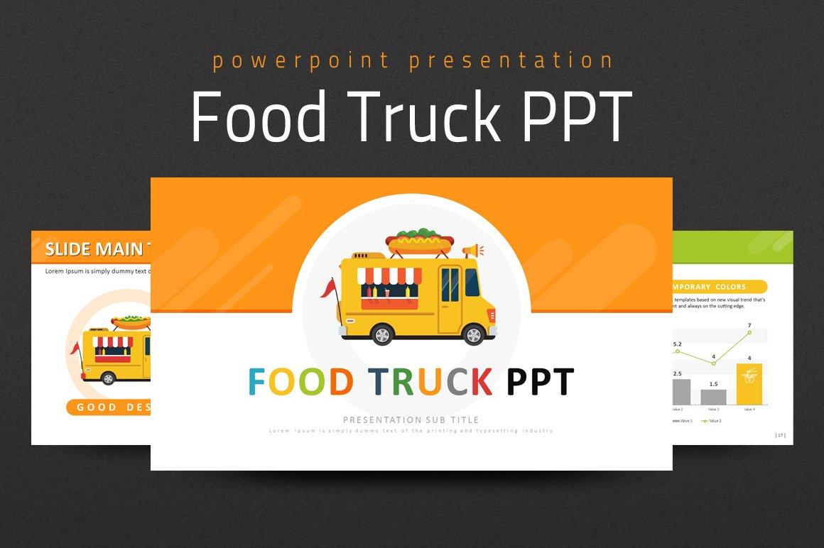 food truck ppt presentation templates creative market. Black Bedroom Furniture Sets. Home Design Ideas