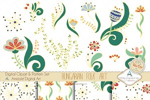 Hungarian Folk Art Clipart&Vector