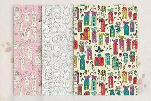Doodle seamless pattern set