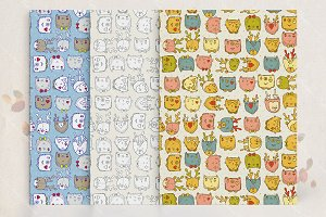 Cute animals seamless pattern set