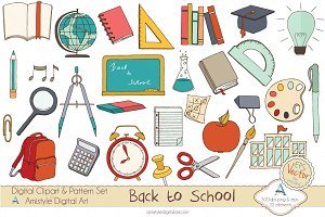 Back to School Set Clipart&Vector
