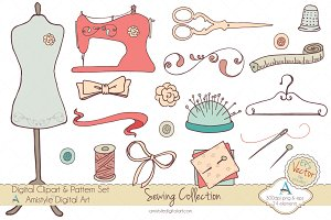 Sewing Collection Clipart & Vector