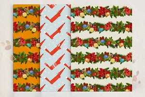 Christmas seamless pattern set