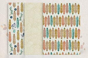 Feather seamless pattern set