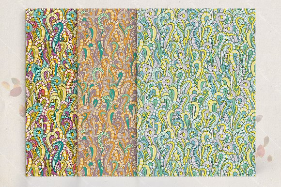 Seamless pattern set. Vintage curls - Patterns