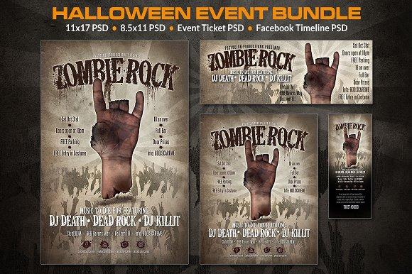 Zombie Event Bundle Flyer Templates on Creative Market – Zombie Flyer Template