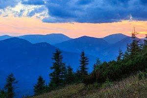 Sunset Carpathian panorama