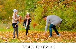 Happy family enjoy autumn warm day
