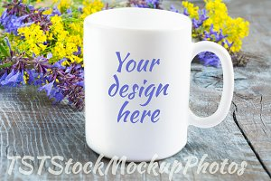 White mug mockup with lilac flowers