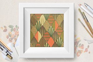 Seamless pattern set with leaves