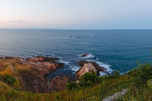 Evening sea coast panorama.