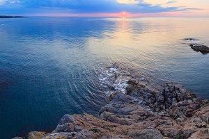 Morning sea coast panorama.
