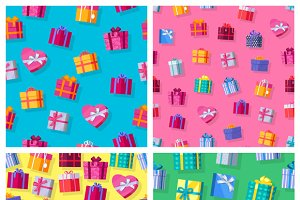 Seamless Patterns Gift Boxes