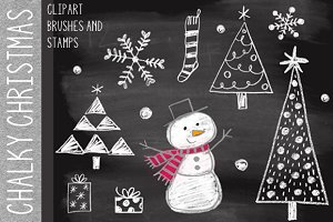 Chalky Christmas Clipart & Brushes
