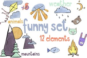 Funny set of 12 different elements