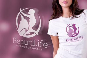 Beauty Life Woman and Flower Logo