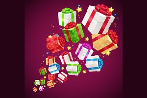 Present Boxes Background Holiday