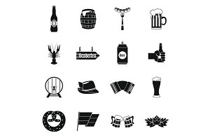 Oktoberfest icons set, simple style