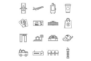 Airport icons set, outline style