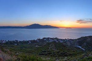 Adriatic sea sunset panorama