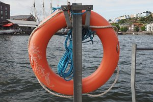 Life buoy by the river