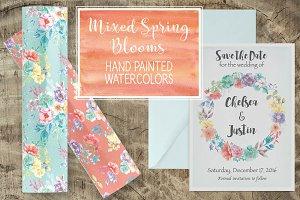 Watercolor wreath: spring blooms
