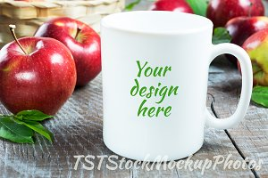 Coffee mug mockup with apples